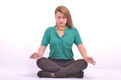 Casual woman meditating Royalty Free Stock Photo