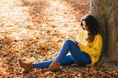 Casual woman messaging on smart phone in autumn royalty free stock photography