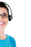 Casual woman with microphone and headphones. Royalty Free Stock Image
