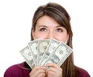 Casual woman with money Stock Photo