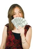 Casual woman with money 2 Royalty Free Stock Photos