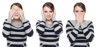Casual woman - no evil Stock Photo