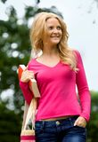 Casual woman outdoors Royalty Free Stock Photo