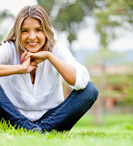 Casual woman outdoors Stock Photography