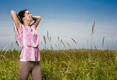 Casual woman outdoors Stock Images