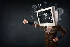 Casual woman with a pc monitor head question marks comming out Royalty Free Stock Image