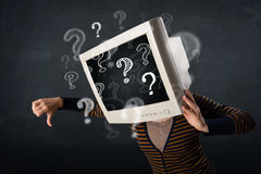 Casual woman with a pc monitor head question marks comming out Stock Photography