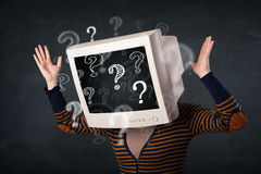 Casual woman with a pc monitor head question marks comming out Stock Photos