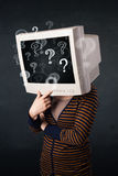 Casual woman with a pc monitor head question marks comming out Royalty Free Stock Images
