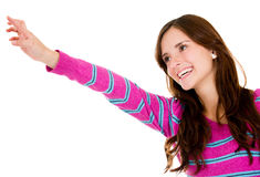 Casual woman pointing Royalty Free Stock Photos