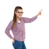 Casual Woman Pointing stock photo