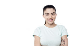 Casual woman posing over white Royalty Free Stock Image