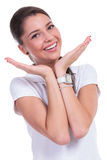 Casual woman presents face Royalty Free Stock Photography