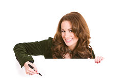 Casual: Woman Ready To Write In Copy Area Stock Images