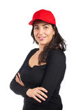 Casual woman with a red cap Royalty Free Stock Images