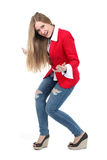 Casual woman in red  smiling standing Royalty Free Stock Photos