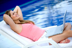 Casual woman relaxing on vacation Royalty Free Stock Photo