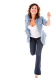 Casual woman running Royalty Free Stock Photo