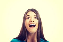Casual woman's face looking. Royalty Free Stock Photo