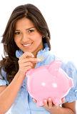 Casual woman saving money Stock Images