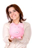 Casual woman saving money Stock Image