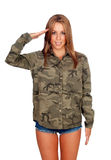 Casual woman with shirt and doing military salute Royalty Free Stock Images
