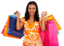 Casual woman with shopping bags Royalty Free Stock Images