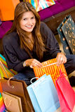 Casual woman with shopping bags Royalty Free Stock Image