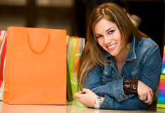 Casual woman with shopping bags Royalty Free Stock Photos