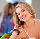Casual woman with shopping bags Stock Image