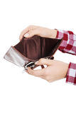 Casual woman showing her empty wallet. Stock Photos