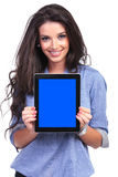Casual woman shows her tablet Stock Photo