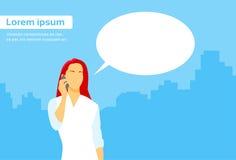 Casual Woman Smart Phone Talk Chat Box. Communication Flat Vector Illustration Royalty Free Stock Photo