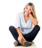Casual woman smiling Stock Photos