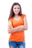 Casual woman smiling. Against withe background Stock Photos