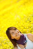 Casual woman smiling outdoors Stock Photo