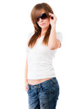 Casual woman in sun glasses Stock Images
