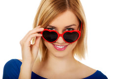 Casual woman in sunglasses. Stock Photos