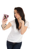 Casual woman taking photo on a digital camera Royalty Free Stock Image