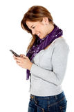 Casual woman texting Royalty Free Stock Photography