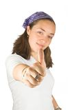 Casual woman with thumb up Royalty Free Stock Photos