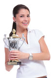 Casual woman with trophy Stock Photography