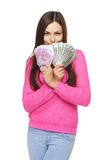 Casual woman with us dollars and euro cash Royalty Free Stock Images