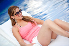 Casual woman on vacation Stock Photos