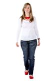 Casual woman walking Royalty Free Stock Photo