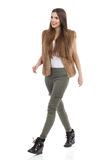 Casual Woman Walking Side Front View Isolated Royalty Free Stock Photo