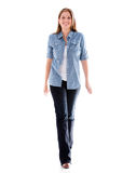 Casual woman walking Royalty Free Stock Images