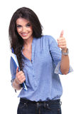 Casual Woman With Clipboard And Thumb Up Royalty Free Stock Photo