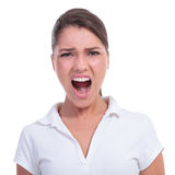Casual woman yelling Stock Photos