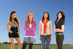 Casual women outdoors Royalty Free Stock Photography
